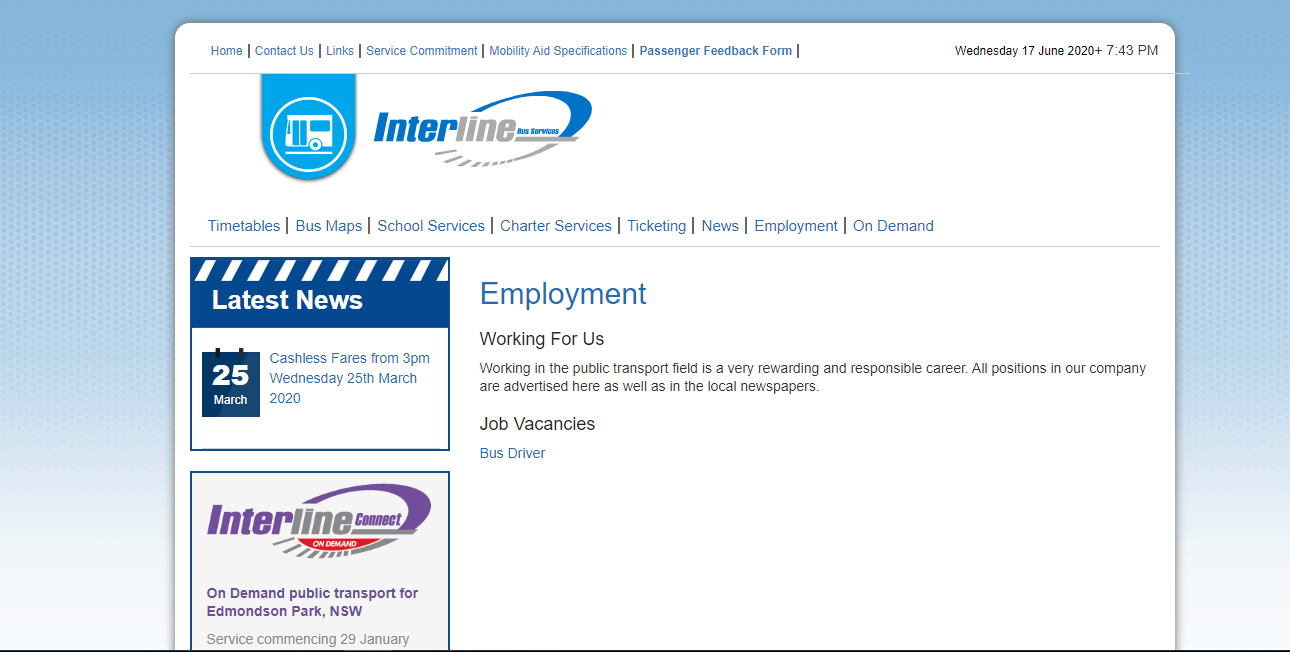 interline bus services job application step 1