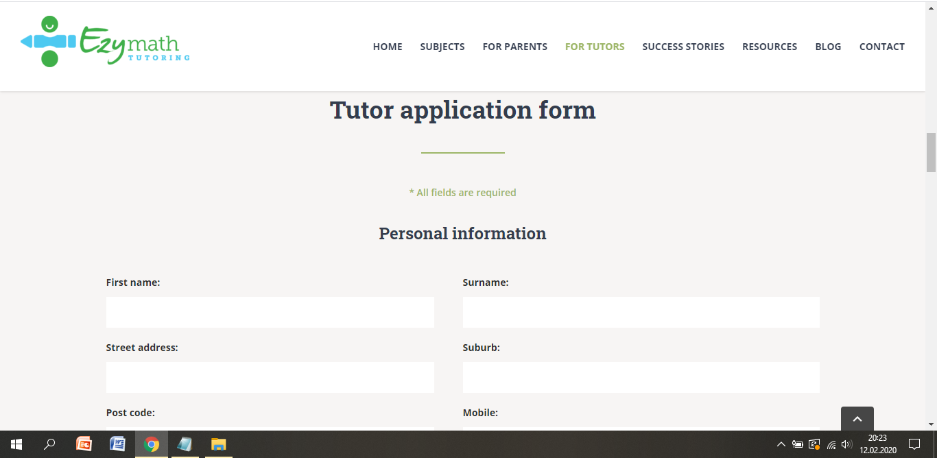 ezy math tutoring job application step 3