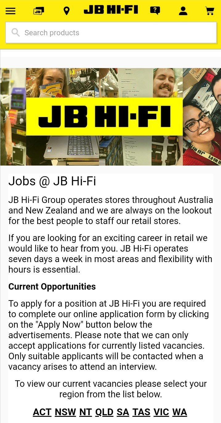 jb hi fi job application step 1