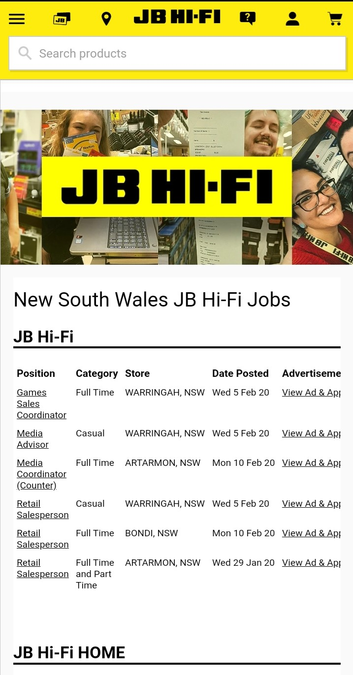 jb hi fi job application step 2