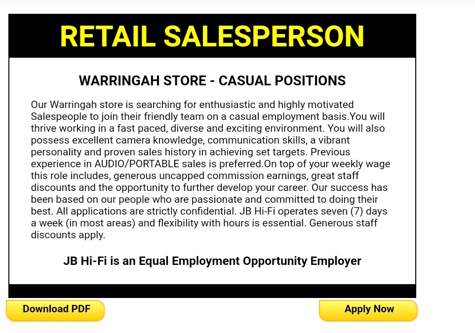 jb hi fi job application step 3
