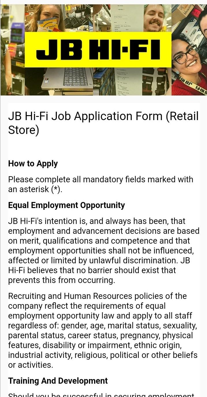 jb hi fi job application step 4