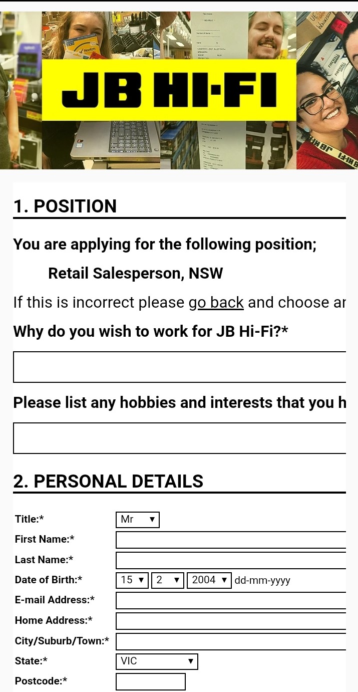 jb hi fi job application step 5