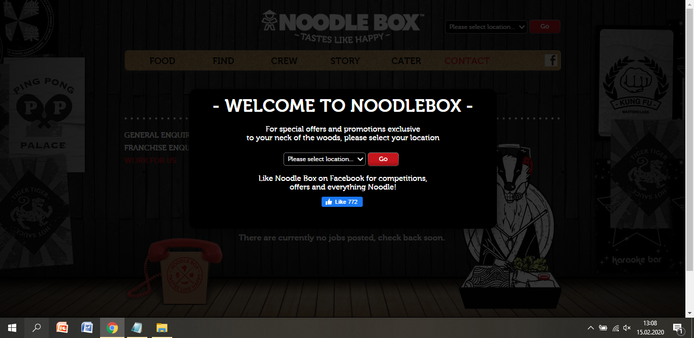 noodle box job application step 1