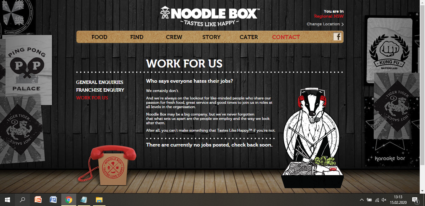 noodle box job application step 2