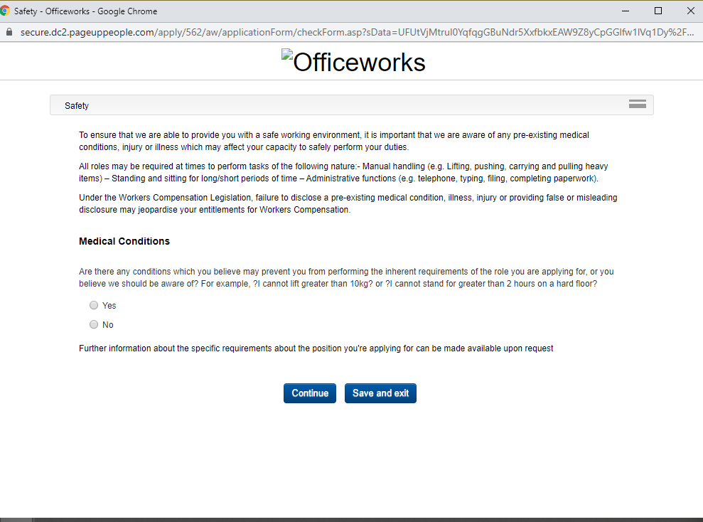 officeworks job application step 9