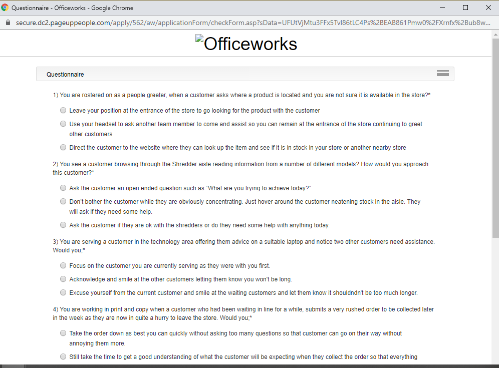 officeworks job application step 10