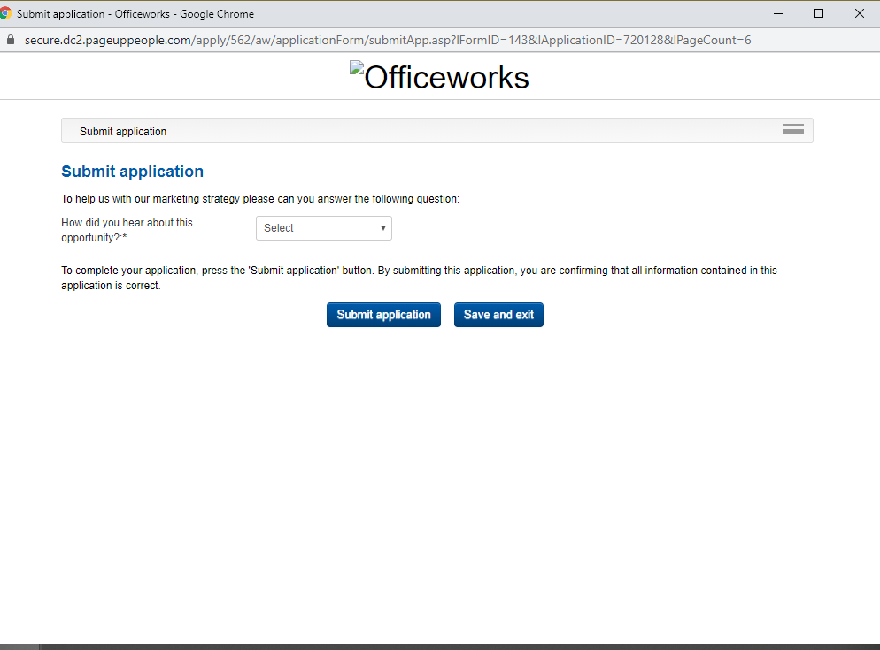 officeworks job application step 12