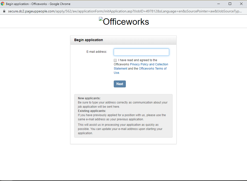 officeworks job application step 3