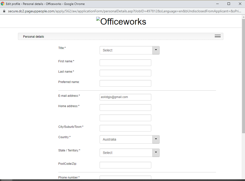 officeworks job application step 5