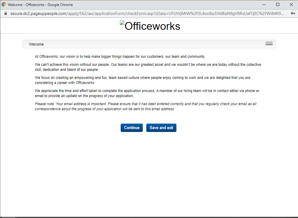 officeworks job application step 6