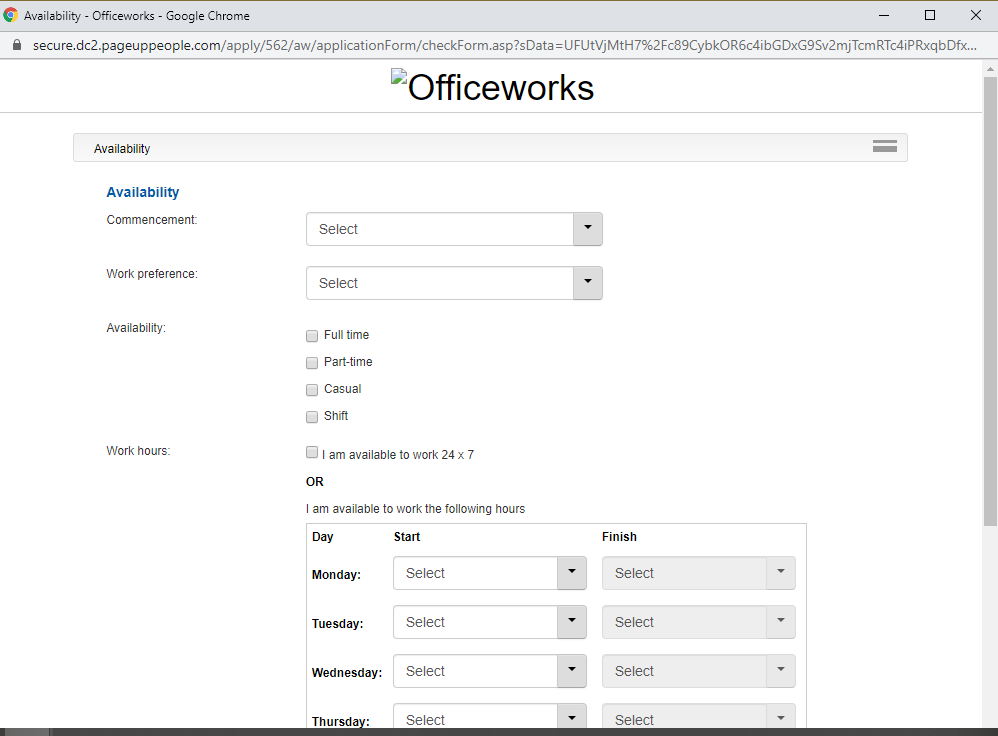 officeworks job application step 7
