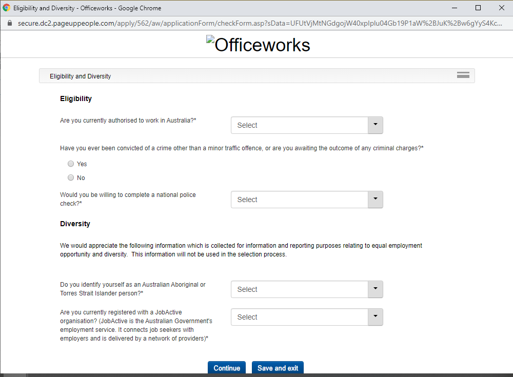 officeworks job application step 8