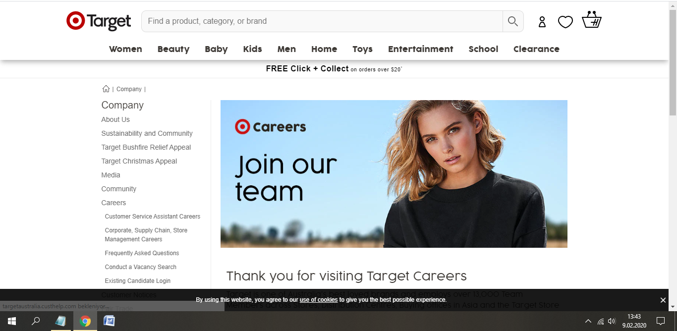 target australia job application step 1