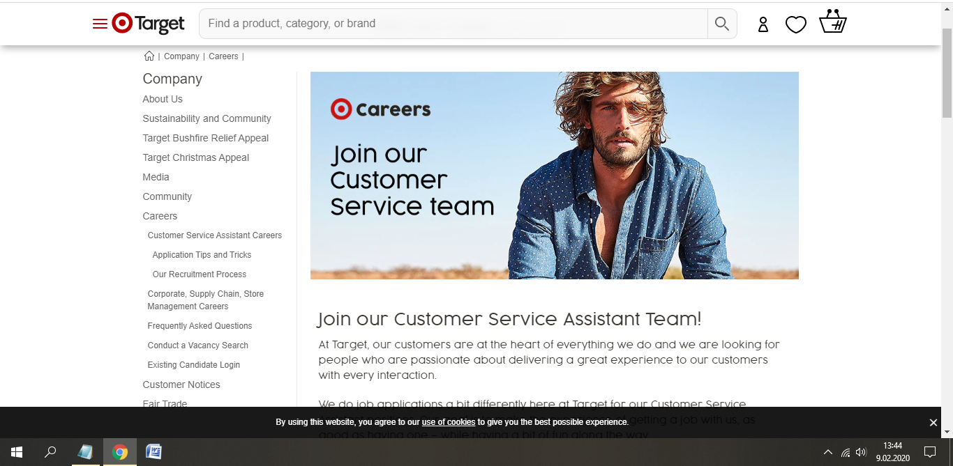 target australia job application step 3