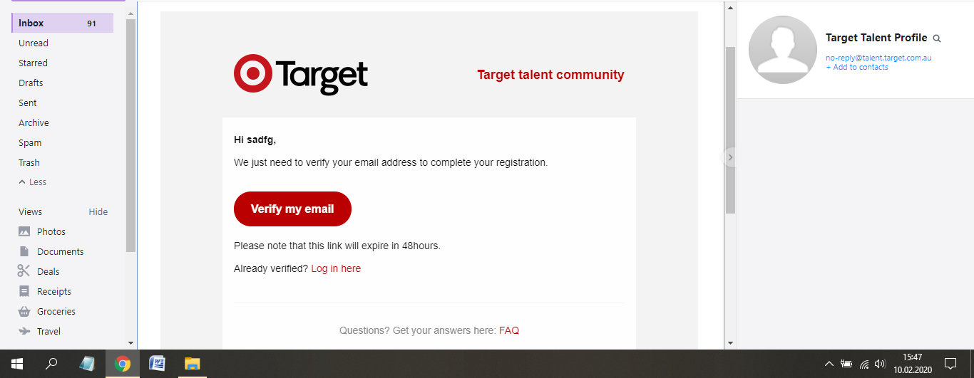 target australia job application step 8