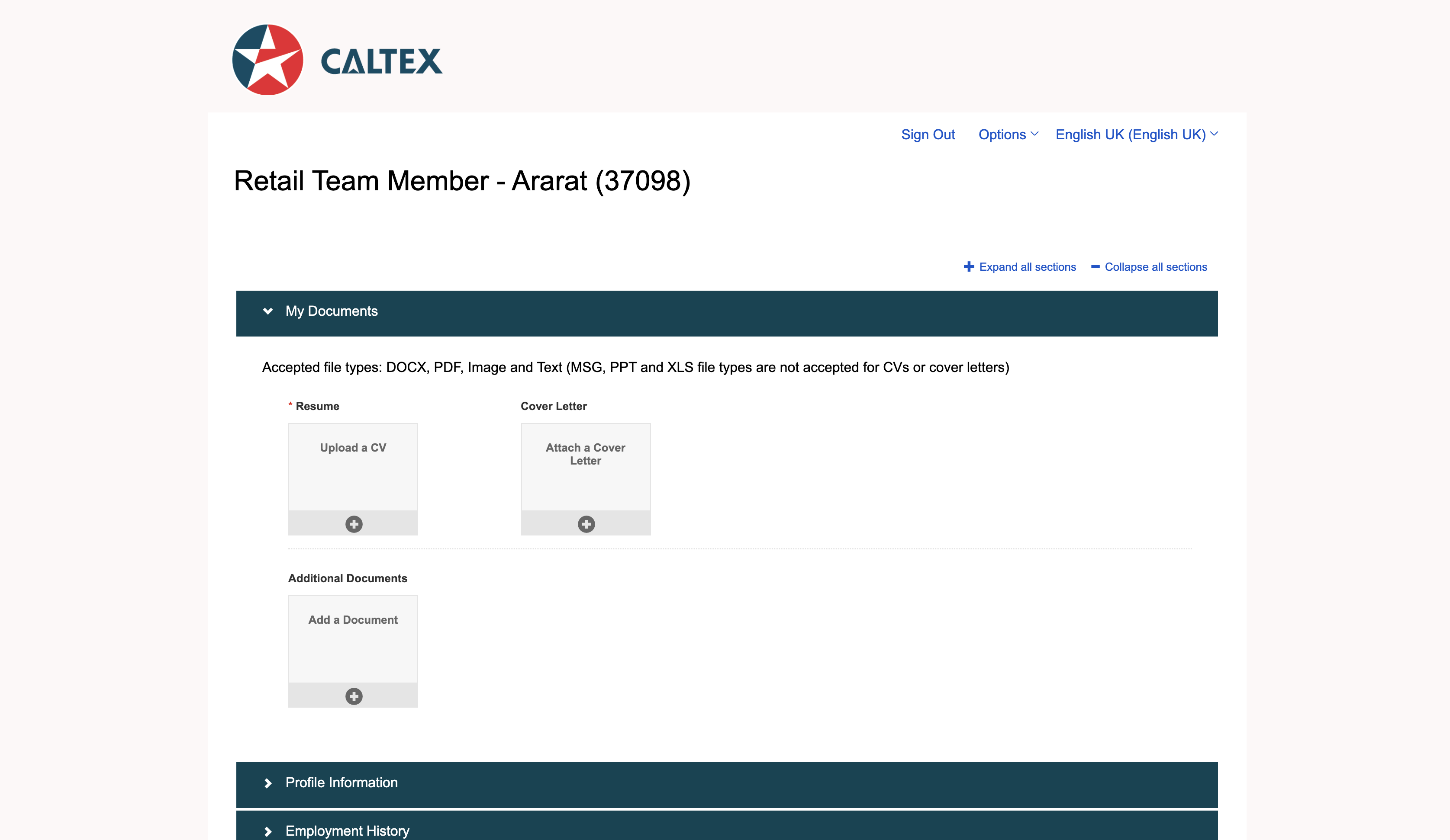 caltex woolwoths job application step 5