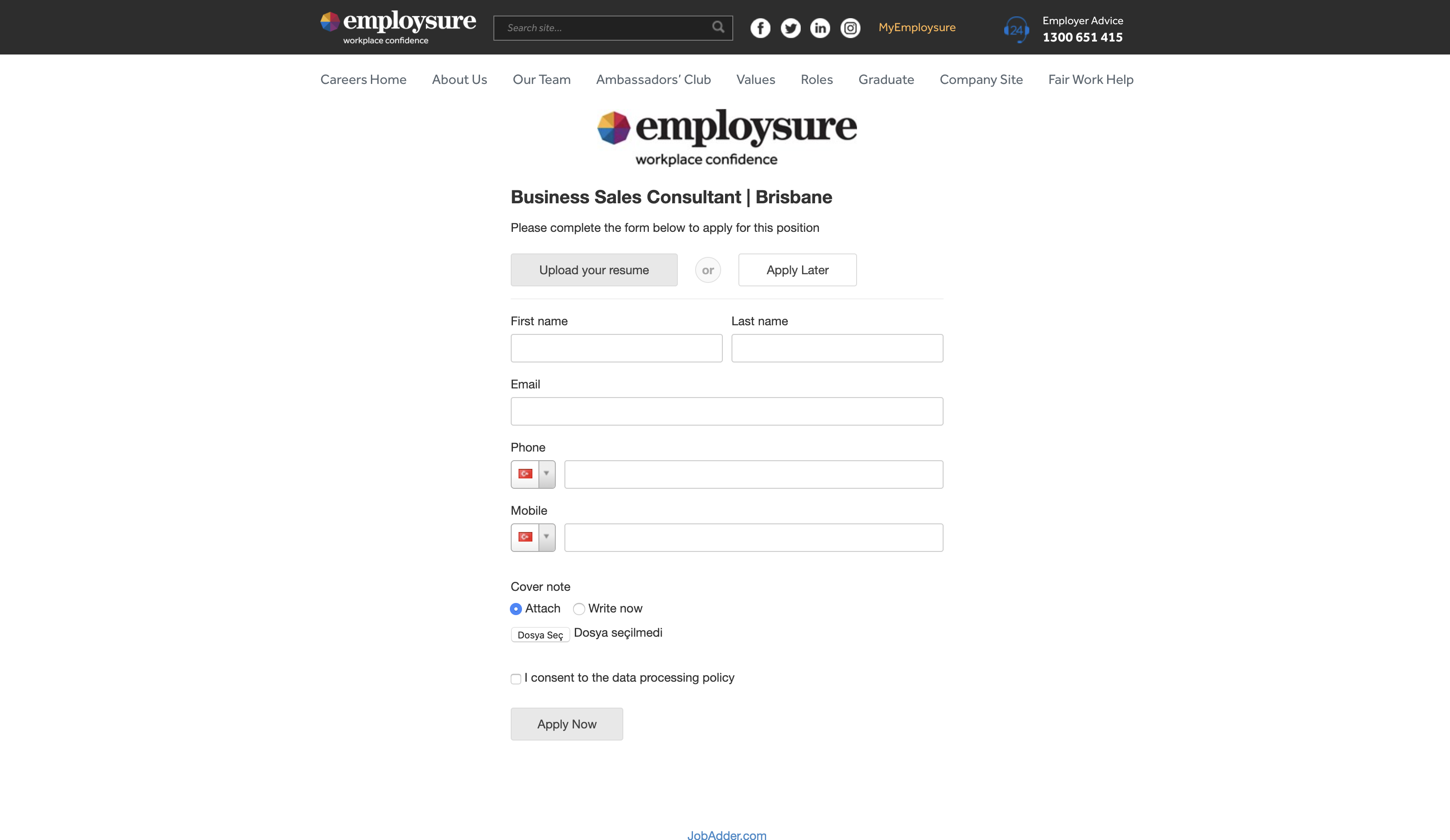 employsure job application step 5