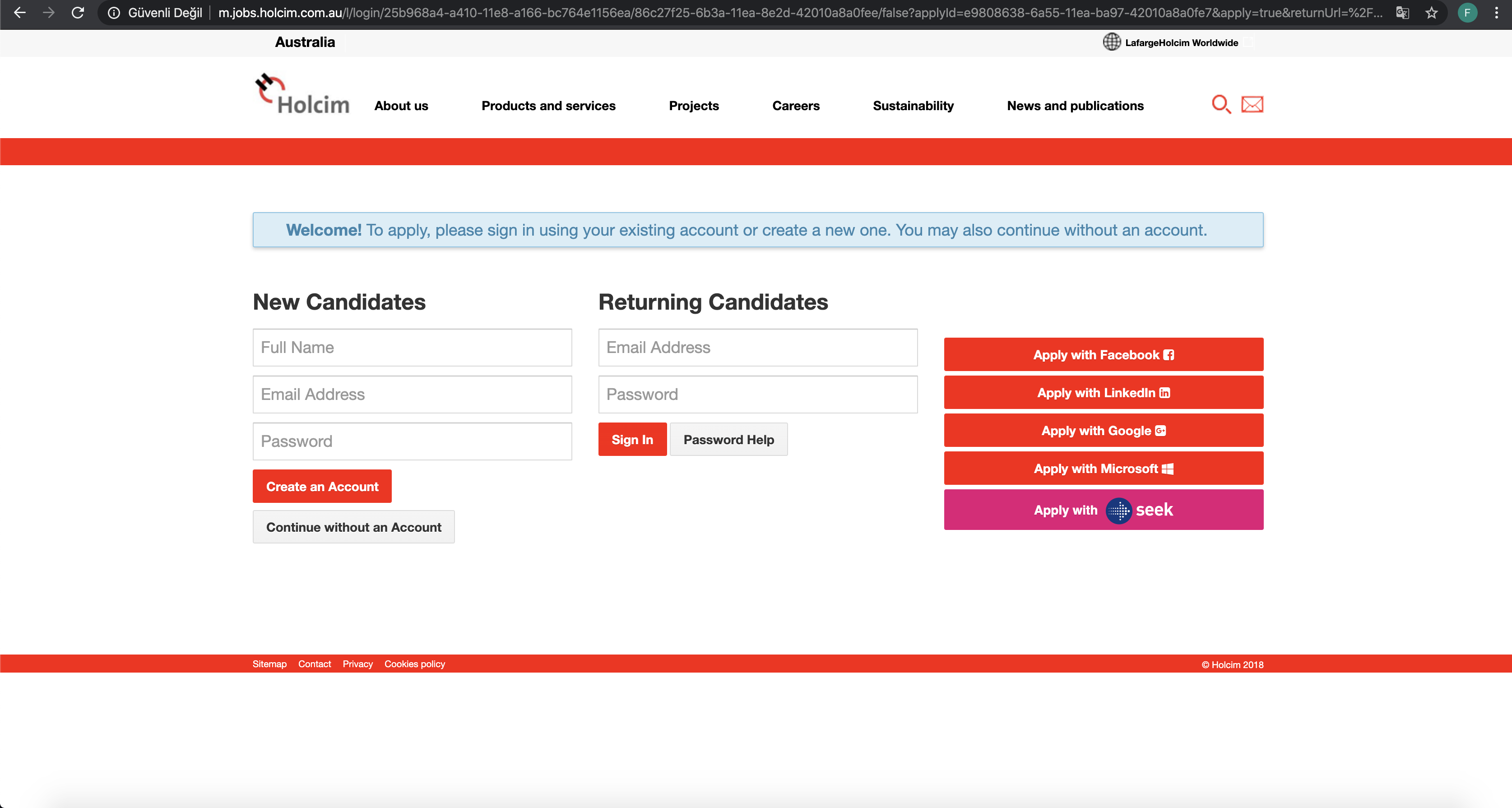 holcim job application step 6