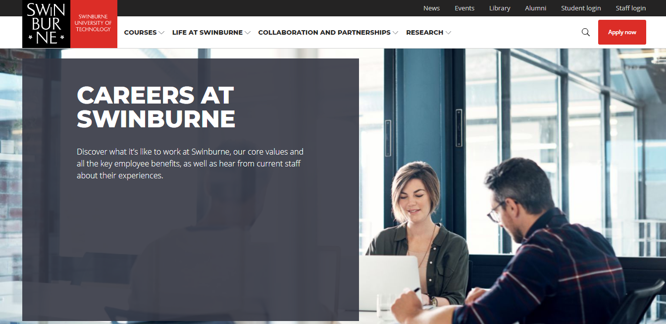 swinburne university of technology job application step 1