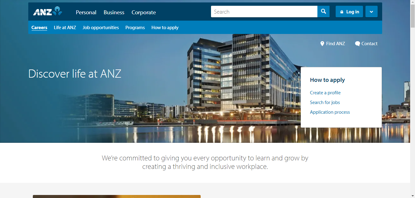 anz banking group job application step 1