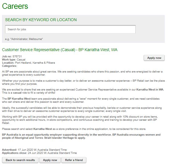 bp australia job application step 5