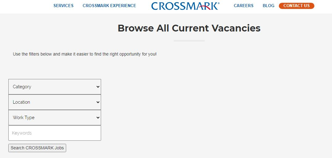 crossmark job application step 2