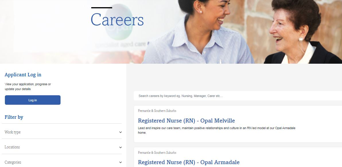 opal aged care job application step 2