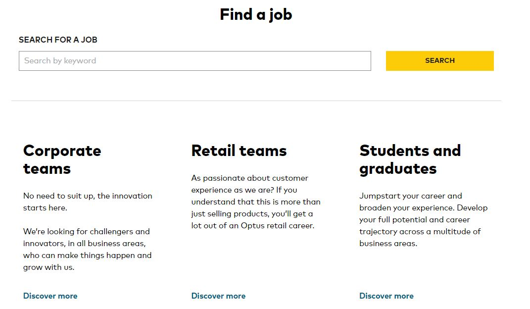 optus job application step 2