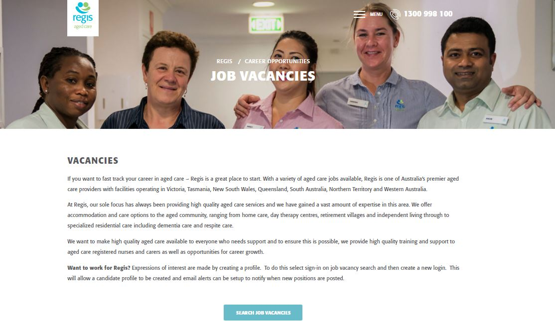 regis aged care job application step 3