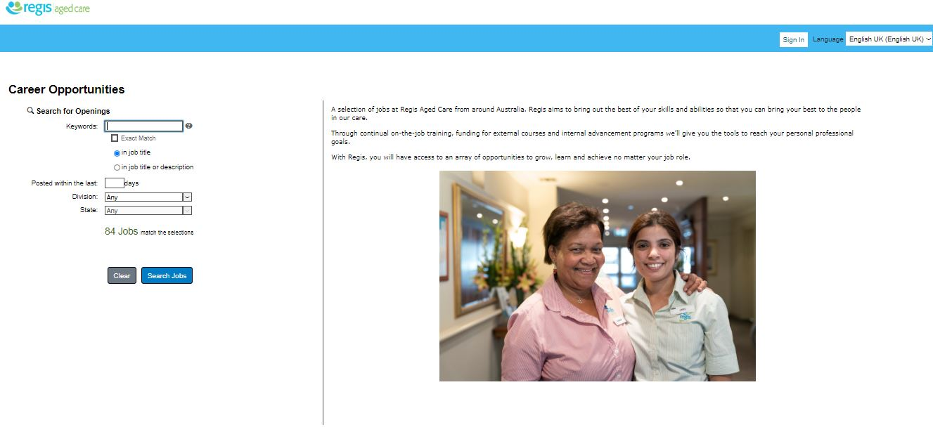 regis aged care job application step 4