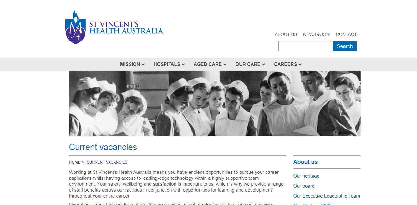 st vincents health australia job application step 1