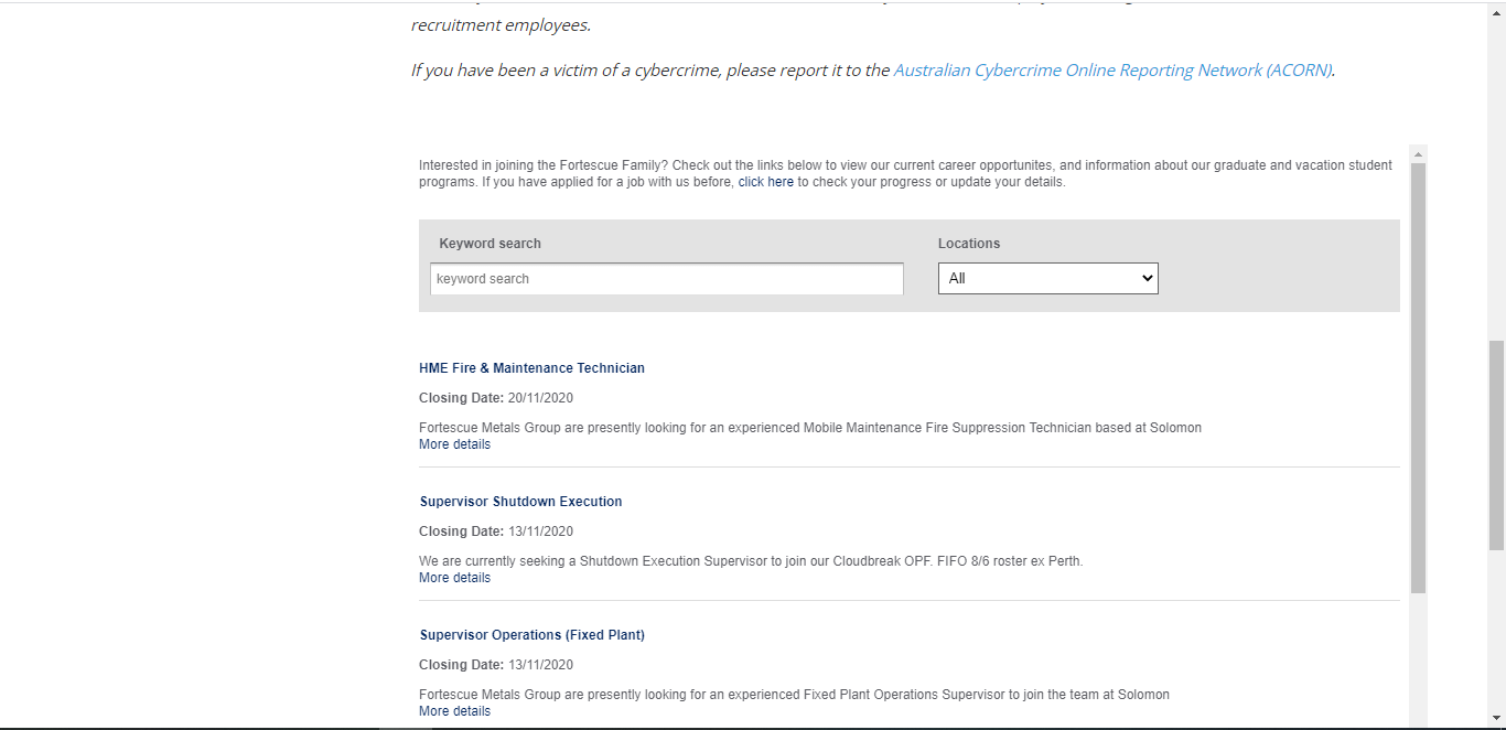 fortescue job application step 2