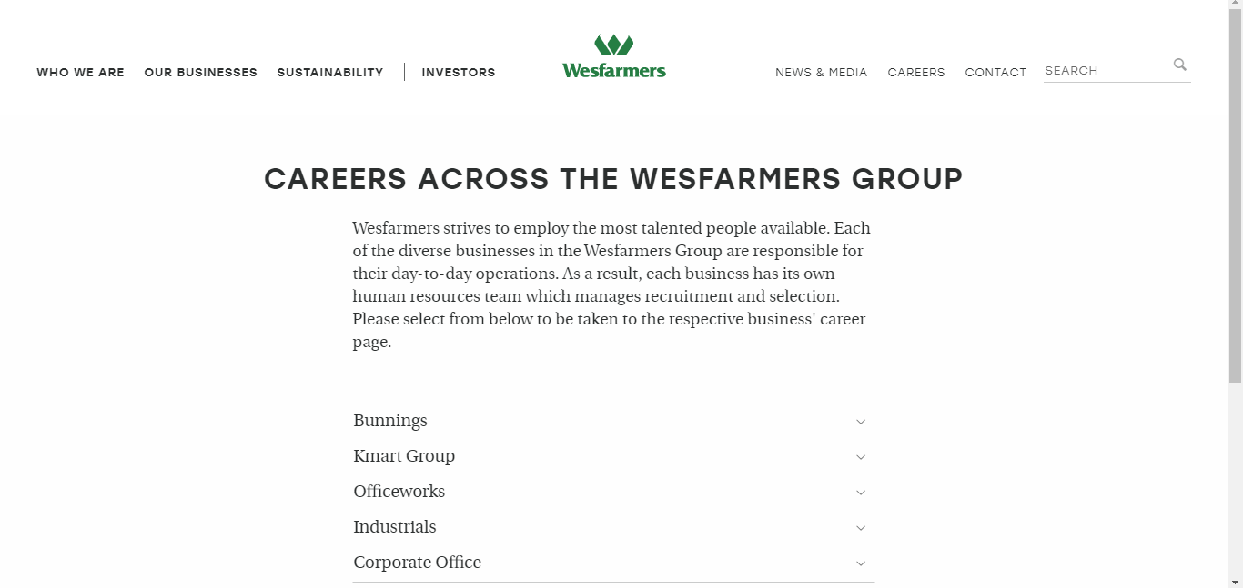 wesfarmers job application step 1