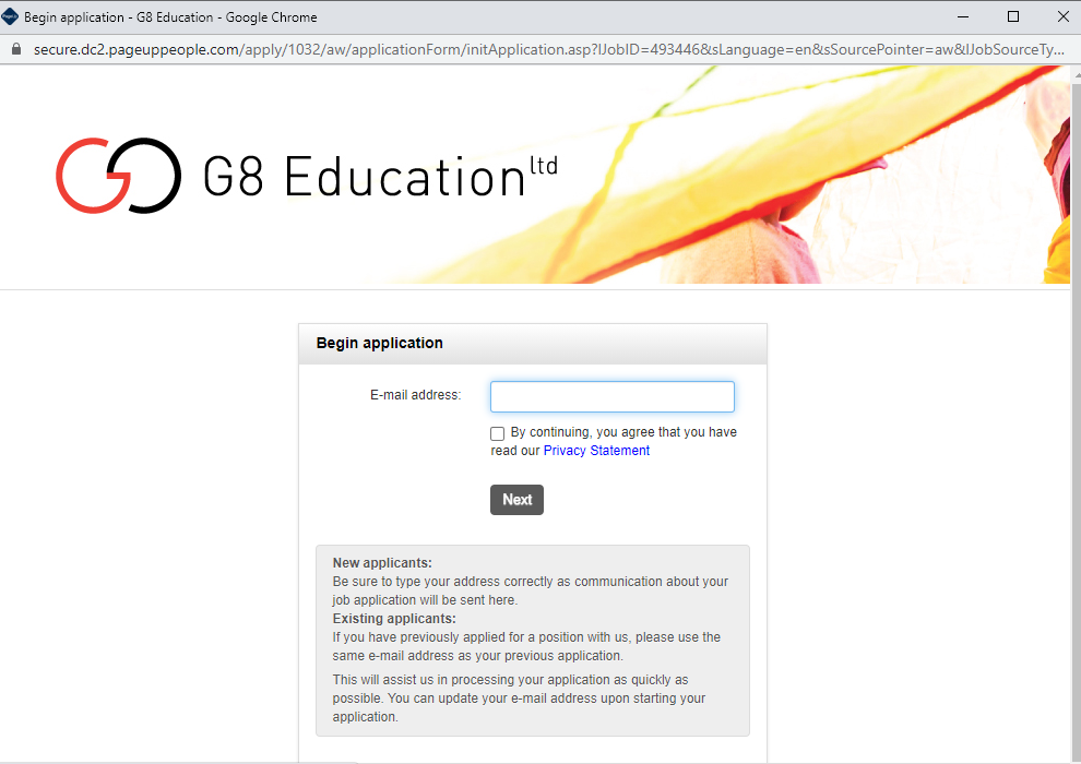 g8 education job application step 4